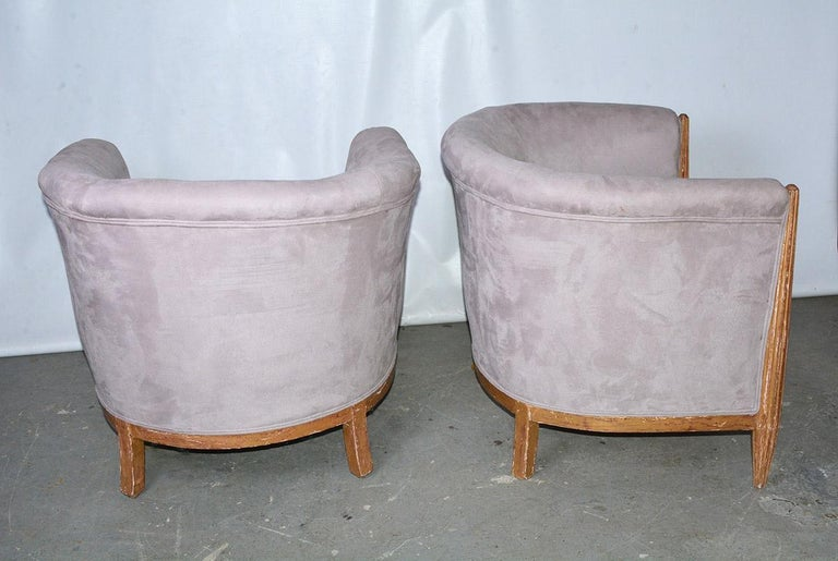 Mid-20th Century French Art Deco Barrel Back Club Chairs For Sale