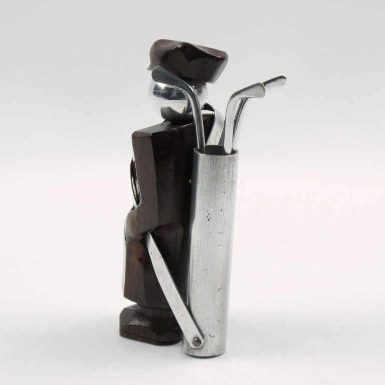 Mid-20th Century French Art Deco Barware Cocktail Picks Set Macassar and Aluminum Golf Caddie For Sale