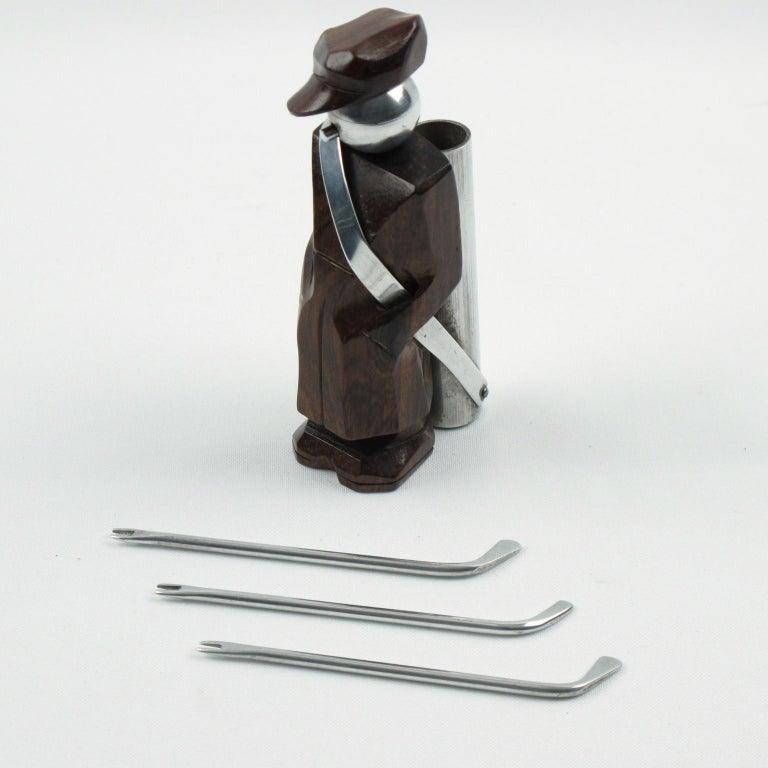 French Art Deco Barware Cocktail Picks Set Macassar and Aluminum Golf Caddie For Sale 1