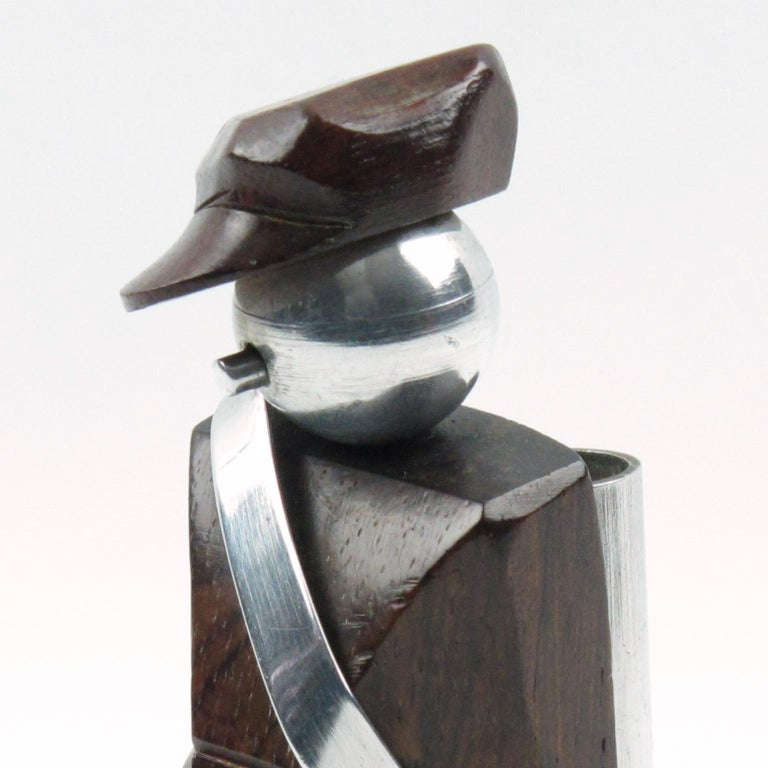 French Art Deco Barware Cocktail Picks Set Macassar and Aluminum Golf Caddie For Sale 2