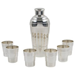 French Art Deco Barware Silver Plate Shaker and 6 Cocktail Cups