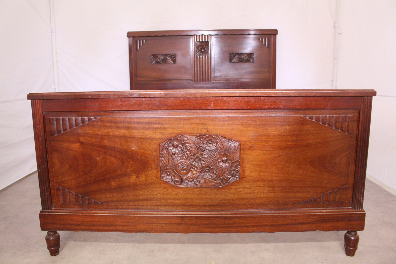 French Art Deco Bed Us Queen Uk King Size Mahogany Circa