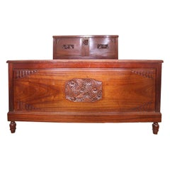 French Art Deco Bed US Queen UK King Size Mahogany, circa 1930