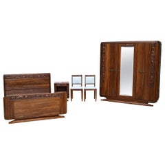French Art Deco Bedroom Set in Solid Carved Wood, Blooming Shrubs Theme, 1920s