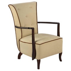French Art Deco Beechwood Upholstered Armchair, 1940s