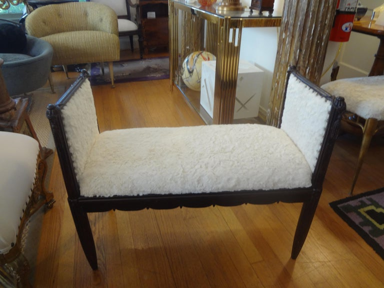 Stunning period French Art Deco bench with tassel motif. Our gorgeous French deco Dominique inspired bench or window seat has been professionally upholstered in faux rabbit fur with spaced brass nailhead detail. Decorated on all sides, so great