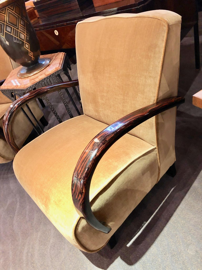 Original but restored Art Deco Club chairs with spectacular bentwood Macassar wood arms. Just completed, using high quality velvet in a neutral beige/cream color. This unusual pair of chairs has a Classic look. Nice details on the top with a slight