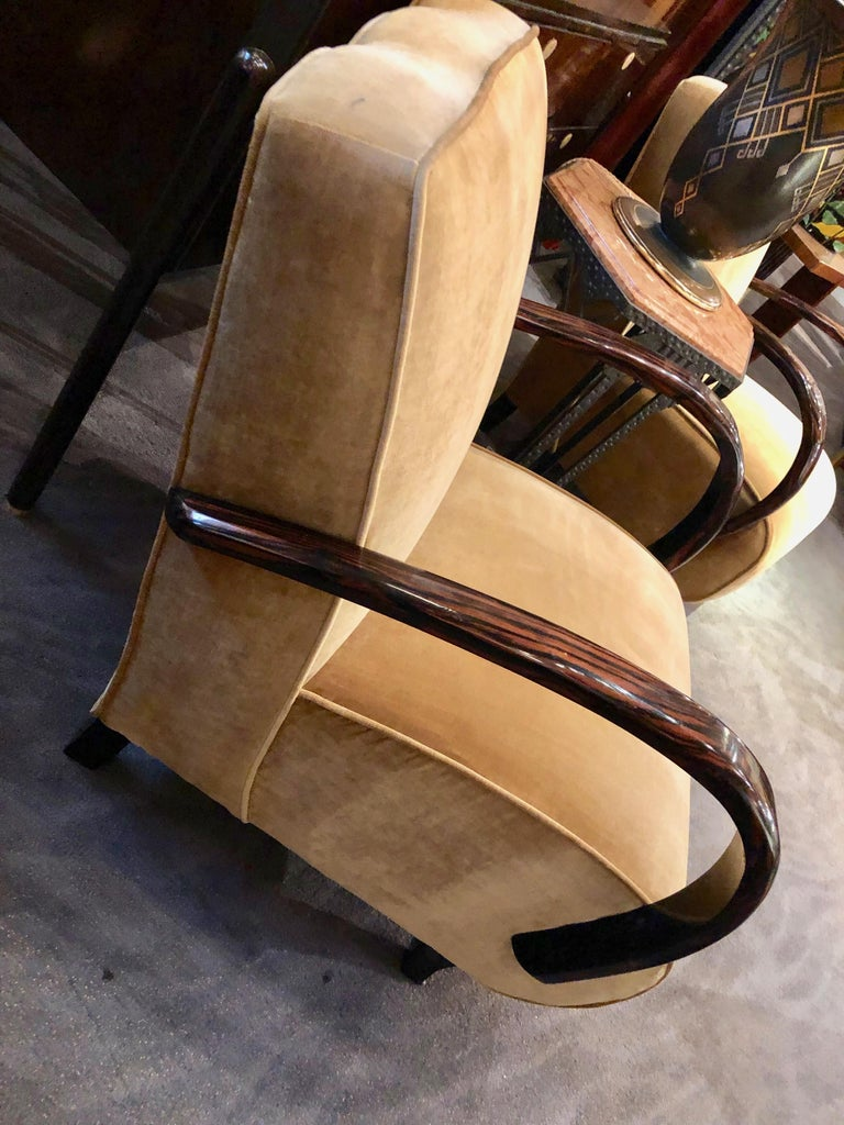 Mid-20th Century French Art Deco Bentwood Macassar Club Chairs Seating For Sale