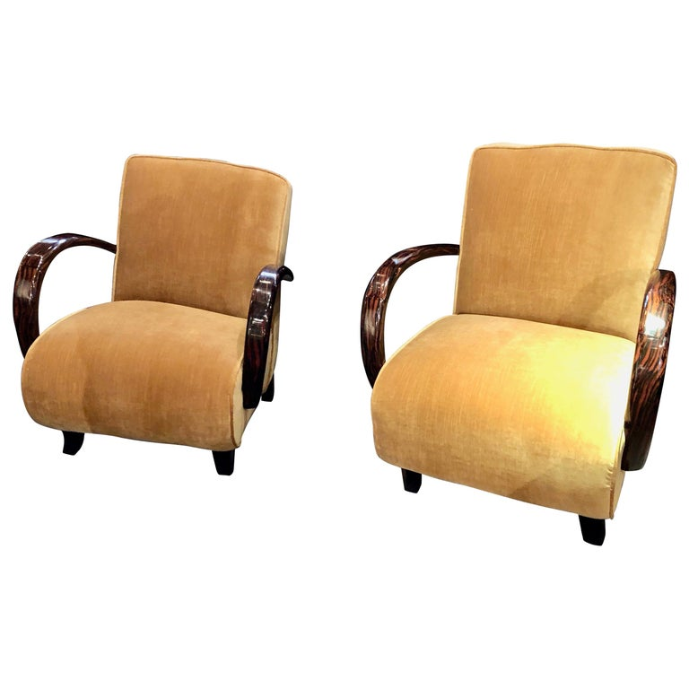 French Art Deco Bentwood Macassar Club Chairs Seating For Sale
