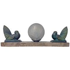 French Art Deco Bird Sculptures Lamp, circa 1930