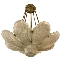 French Art Deco Birds in Flight Chandelier Signed by Sabino