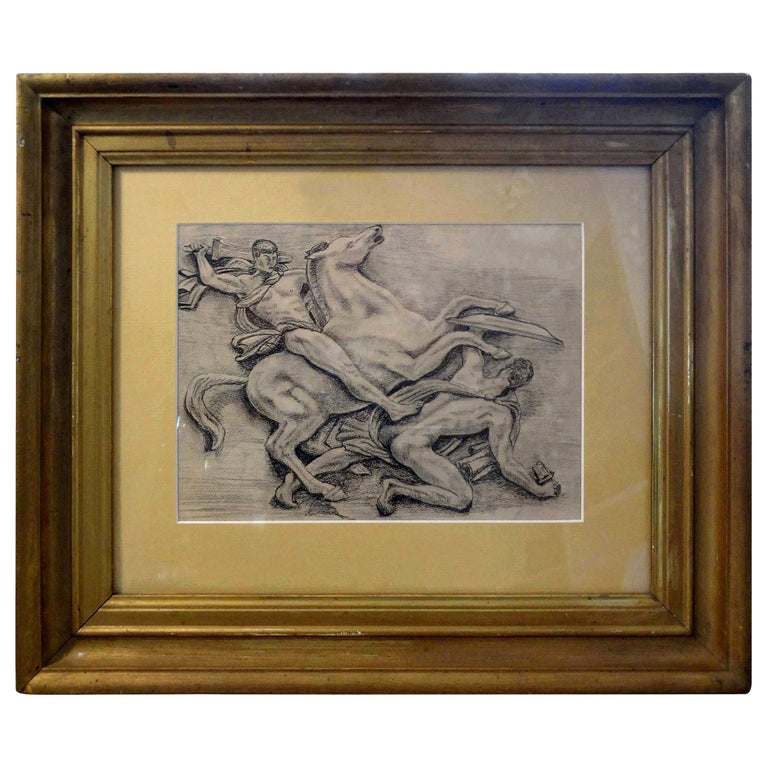 French Art Deco Black and White Framed Drawing For Sale