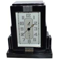 French Art Deco Black Bakelite Clock by JAZ