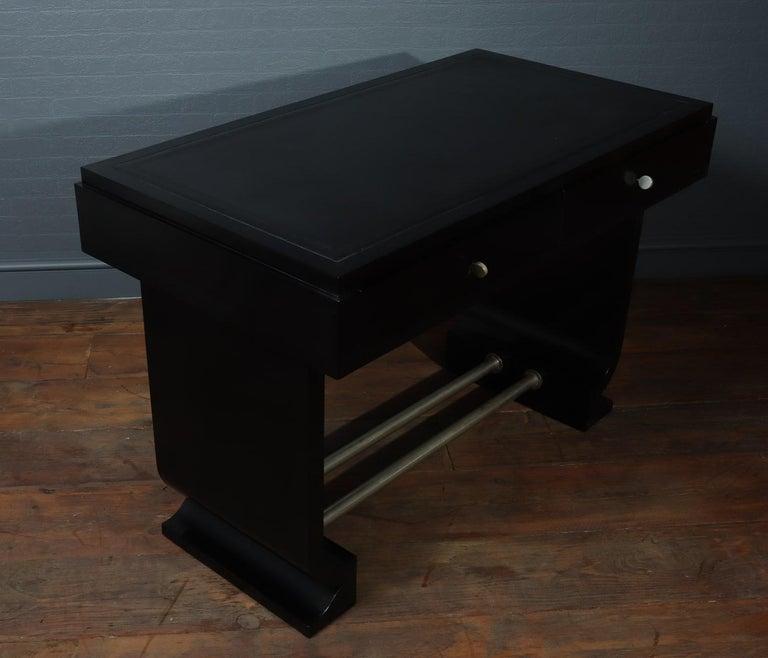 Wood French Art Deco Black Desk, circa 1930 For Sale