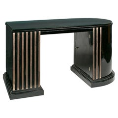 French Art Deco Black Lacquer Desk with White-Gold Leaf Details
