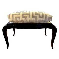 French Art Deco Black Lacquered Bench