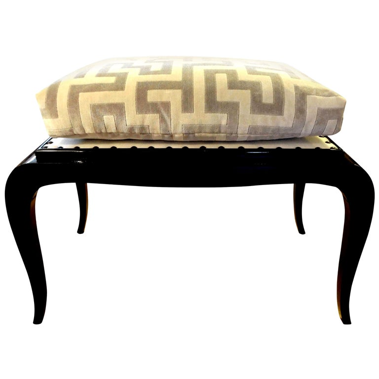 French Art Deco Black Lacquered Bench For Sale