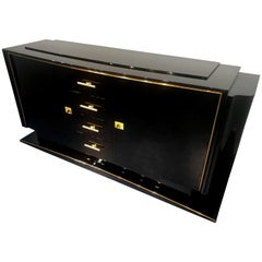 French Art Deco Black Lacquered Sideboard Cabinet, 1940s