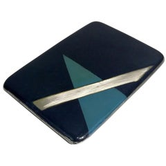 French Art Deco black Lacquered Silver Cigarette Case, circa 1930