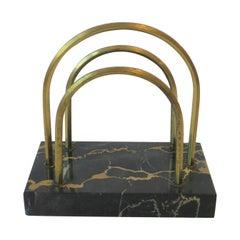 French Art Deco Black Marble and Brass Desk Letter Holder
