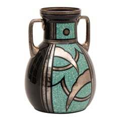 French Art Deco Black and Turquoise Glass Vase by HEM Michel Herman