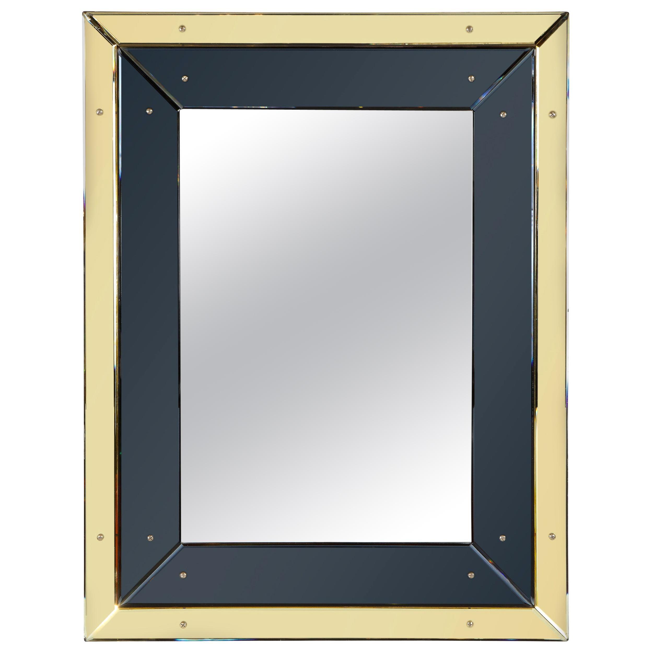 French Art Deco Black Vitrolite and Citrine Rectangular Wall Mirror