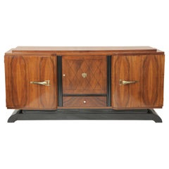 French Art Deco Blonde Mahogany Sideboard with Sycamore Veneer on the Inside