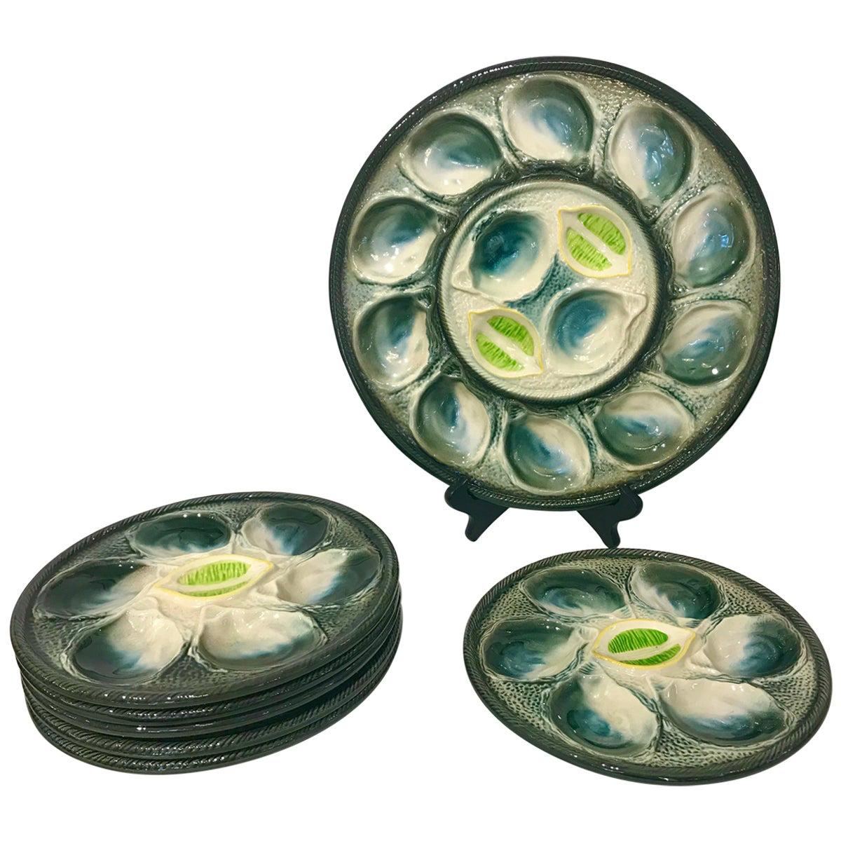 French Art Deco Blue & White Majolica Set of 6 Oyster Plates and Serving Platter