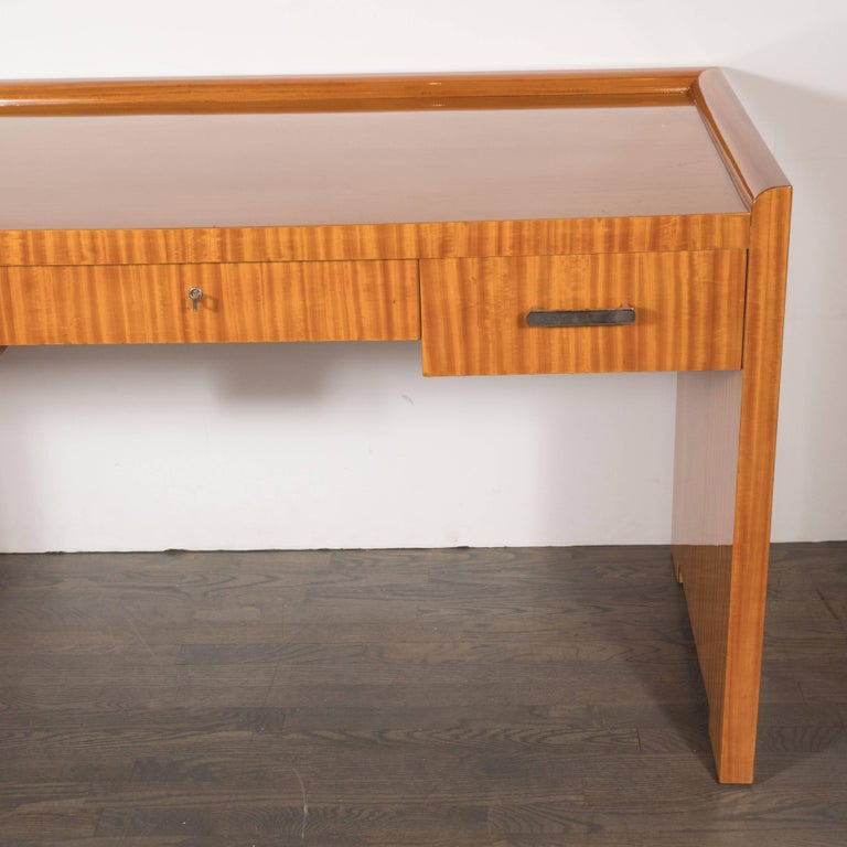 French Art Deco Bookmatched Satinwood Desk with Silvered Pulls by Jean Royère In Excellent Condition For Sale In New York, NY