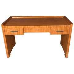 French Art Deco Bookmatched Satinwood Desk with Silvered Pulls