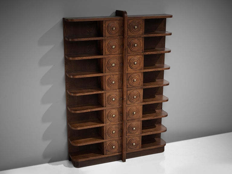 Mid-20th Century French Art Deco Bookcase in Oak For Sale
