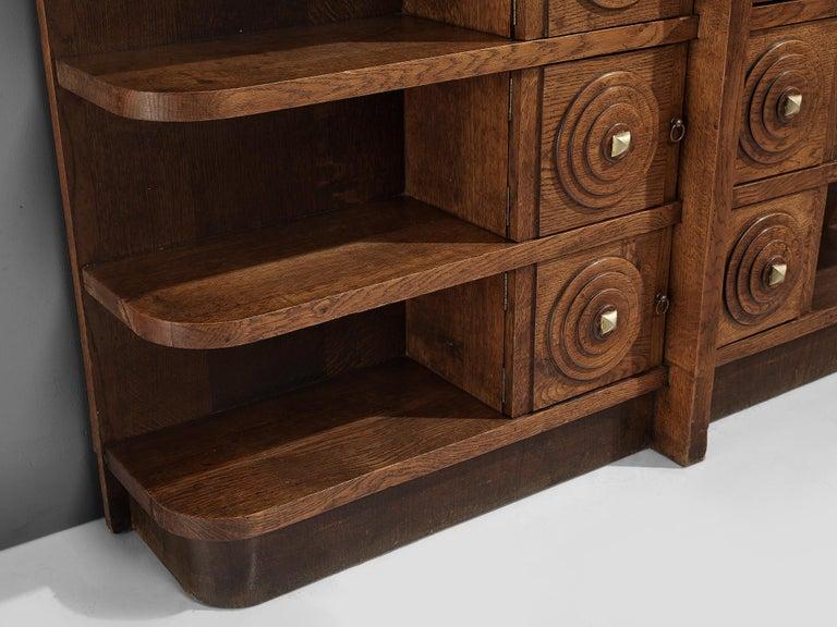 French Art Deco Bookcase in Oak For Sale 3