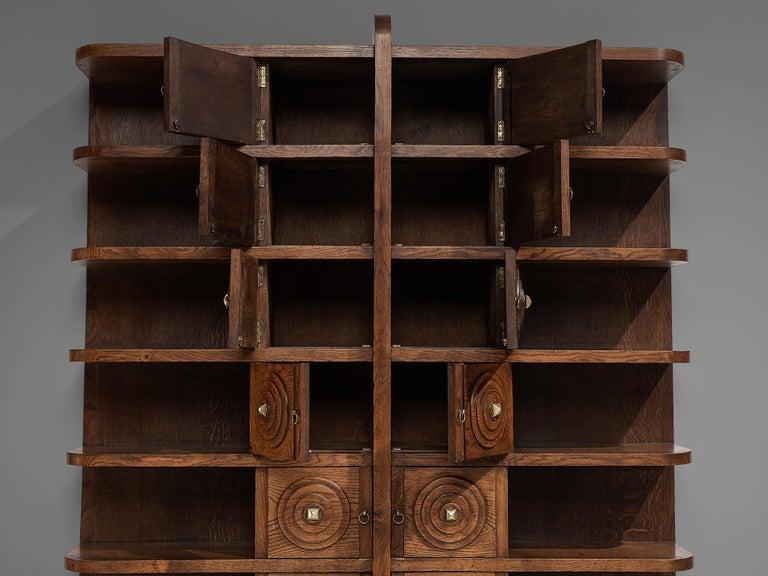 French Art Deco Bookcase in Oak For Sale 4
