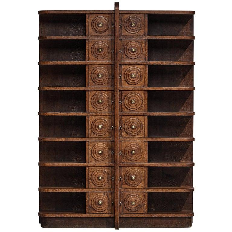 French Art Deco Bookcase in Oak For Sale