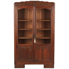French Art Deco Bookcase in Walnut, 1930s