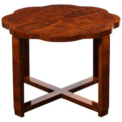 "French Art Deco Bookmatched and Burled Walnut ""Cloud Style"" Guéridon Table"