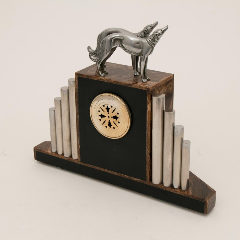 French Art Deco Borzoi Clock by Michel Decoux For Sale 5