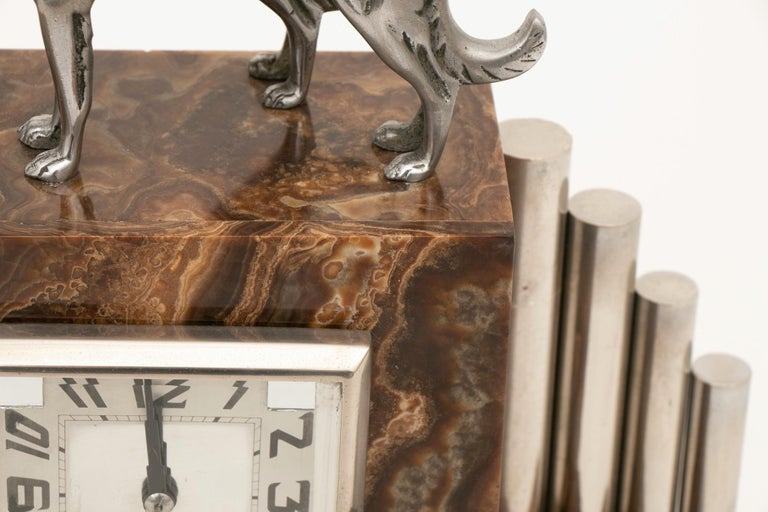 French Art Deco Borzoi Clock by Michel Decoux For Sale 7