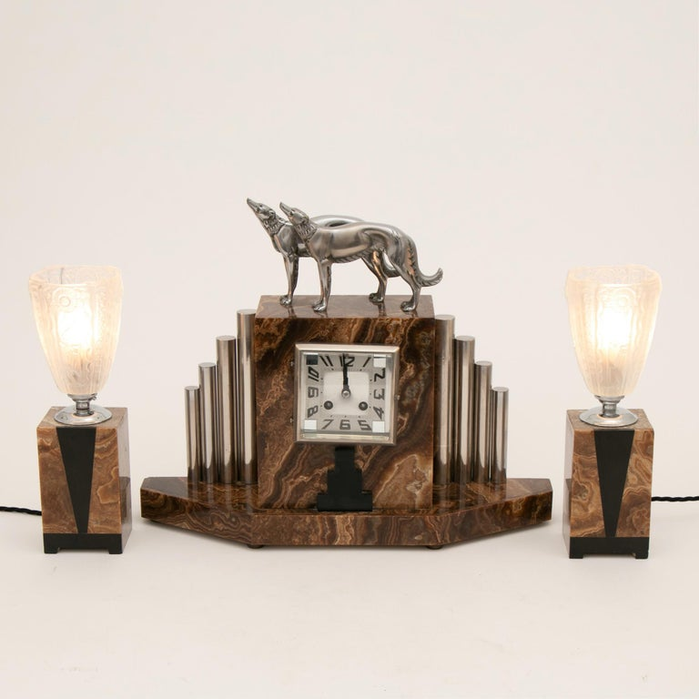 French Art Deco Borzoi Clock by Michel Decoux In Good Condition For Sale In London, GB