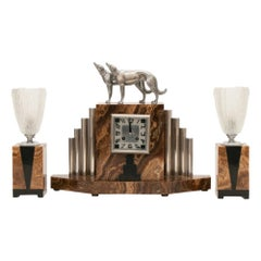 French Art Deco Borzoi Clock by Michel Decoux