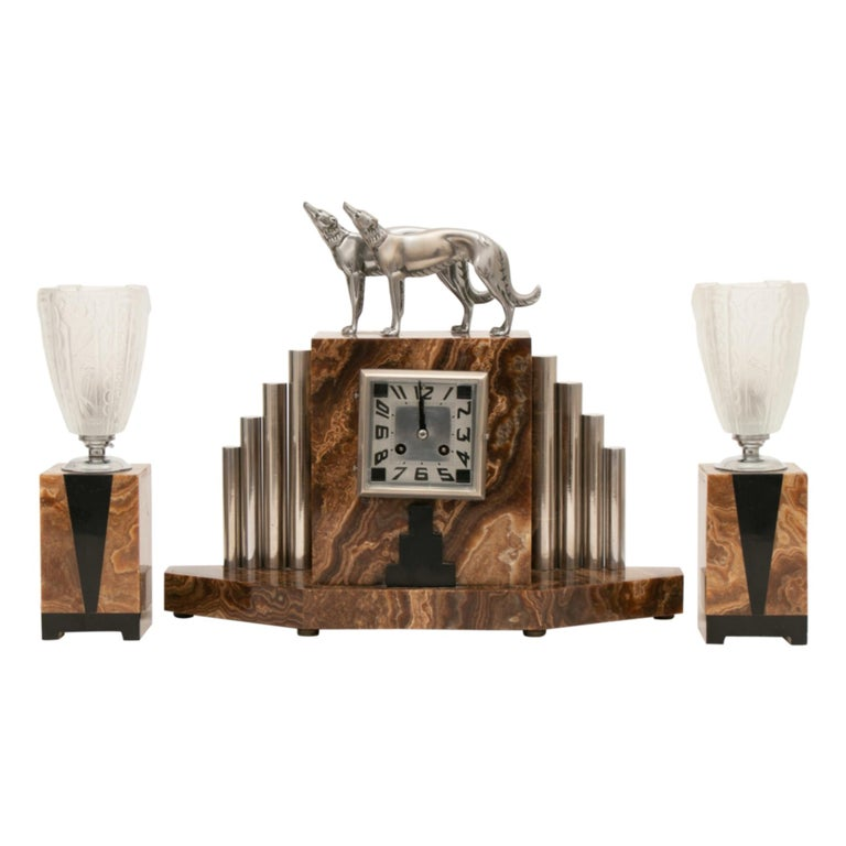 French Art Deco Borzoi Clock by Michel Decoux For Sale