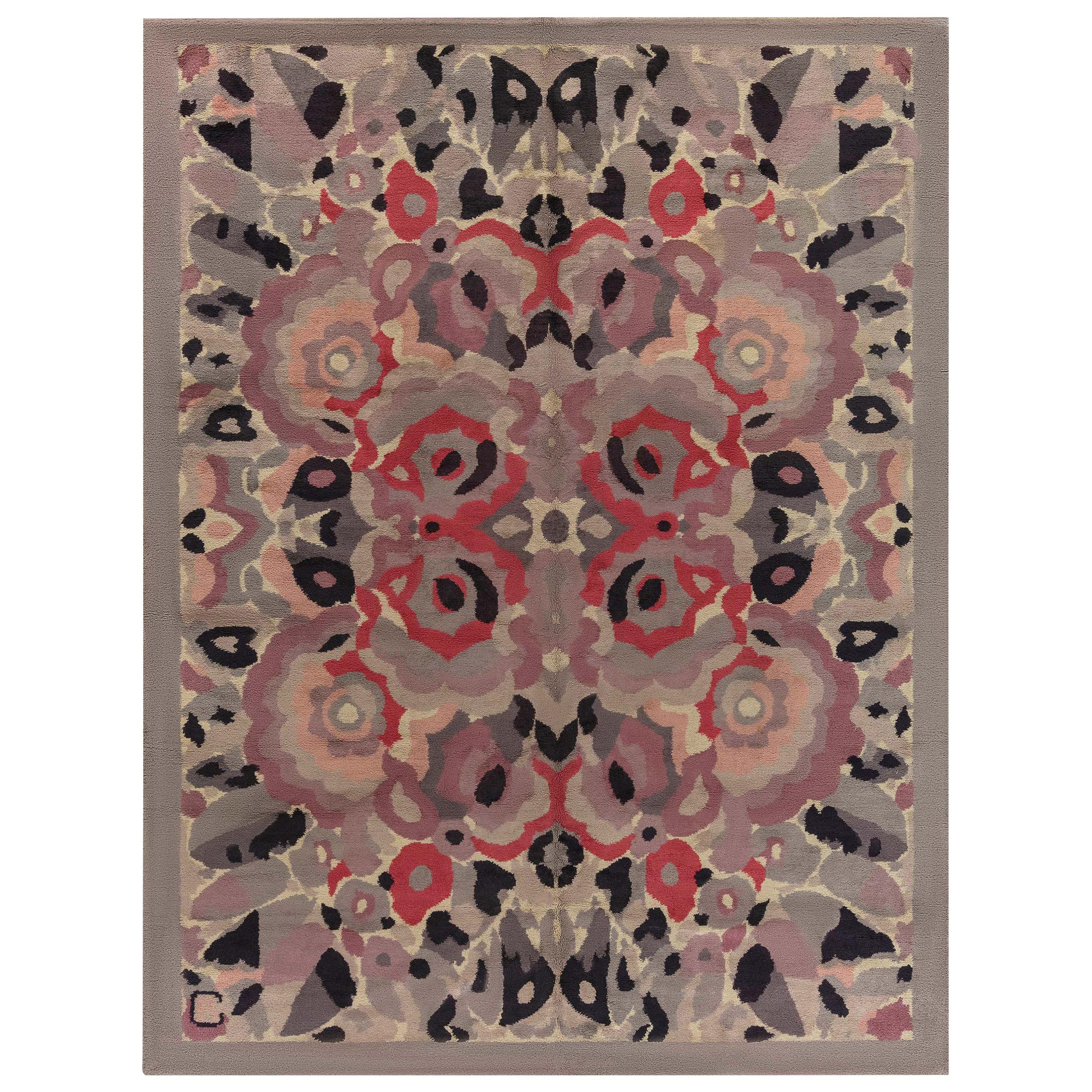French Art Deco Botanic Handmade Wool Rug