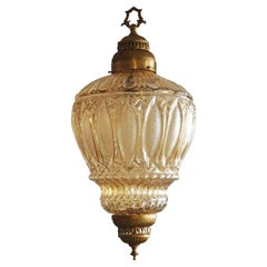 French Art Deco Brass Amber Glass Lantern, Chandelier, 1930s