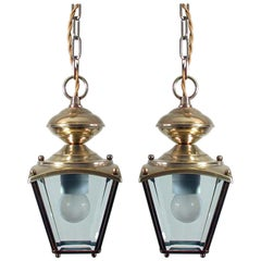 French Art Deco Brass and Bevelled Glass Lantern Pendant, Set of 2, 1930s