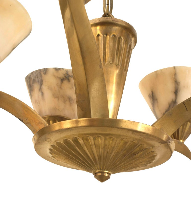 20th Century French Art Deco Brass Chandelier, Circa 1925 For Sale