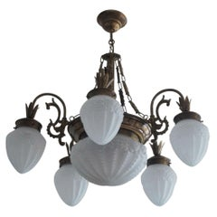 French Art Deco Brass Frosted High Relief Glass Seven-Light Chandelier