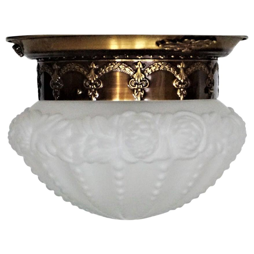 French Art Deco Brass Frosted Glass Flushmount, Ceiling Light