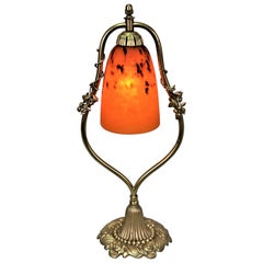 French Art Deco Bronze and Art Glass Table Lamp