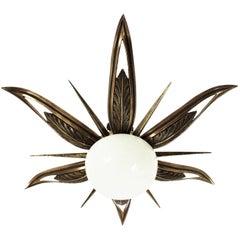 French Art Deco Bronze and Milk Glass Starburst Sunburst Flush Mount