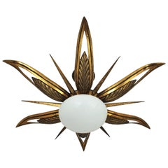 French Art Deco Bronze and Milk Glass Starburst Sunburst Flush Mount
